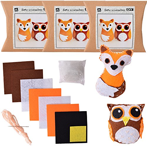 Set di 6DIY Feltro Set bricolage 33pezzi animali della foresta volpe e gufo, feltro tuo cono circa 9x 7x 2cm marrone bianco