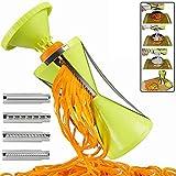CLDGF 4 In1 Gemüsespiralschneider, Küchen-Mehrzweckschneider, 4 Klingen auswechselbar, Karottengurken-Spaghetti, Trichter-Reibe
