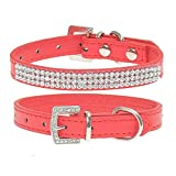 Wide.ling Hundehalsband, zweireihiger Strasssteinbesatz, Herz-Design, Leder, für kleine und mittelgroße Rassen, (Rot, L)