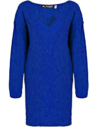Ladies Chunky Knitted Formal Oversized Baggy Deep V Plunge Neck Womens Long Casual Warm Sweater Jumper Loose Mini Dress Top Plus Sizes UK 8-22