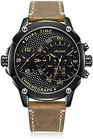 ساعة ميجير للرجال كوارتز ، كرونوغراف عرض و سوار من الجلد - 2093G