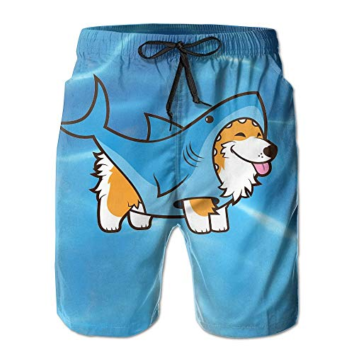 Corgi in A Shark Men's Summer Surf Swim Trunks Beach Shorts Pants Quick Dry with Pockets,2XL