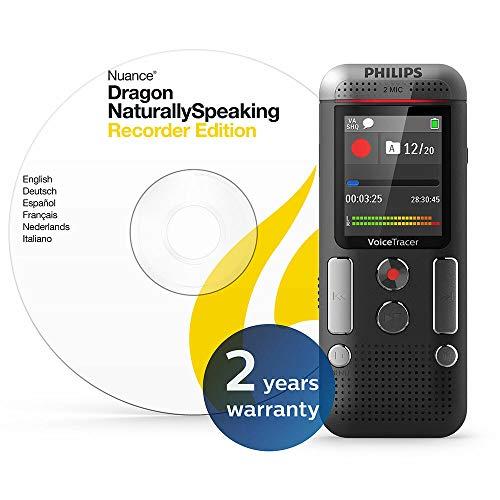 Philips DVT2710 Digitales Diktiergerät inkl. Spracherkennungs-Software f. Windows, kompaktes Aufnahmegerät, mp3 Recorder, Farbdisplay, 8 GB Speicher, USB-Anschluss, Plug & Play, Anthrazit - 2