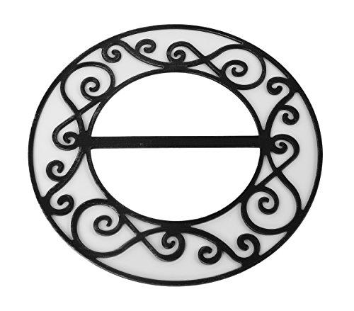 Runde Gardinenspange aus Metall, Vintage Dekospange Gardinenbrosche, Farbe Wählbar (Schwarz - Silber)