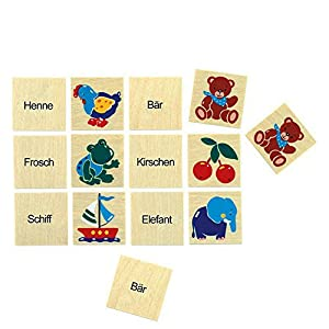 Bino Europe- Memorama con combinación de Dibujos y Texto, Multicolor (72463)