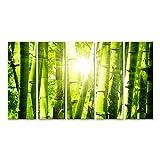 islandburner Bild Bilder auf Leinwand Sonnenstrahlen Bambus Grün Poster, Leinwandbild, Wandbilder