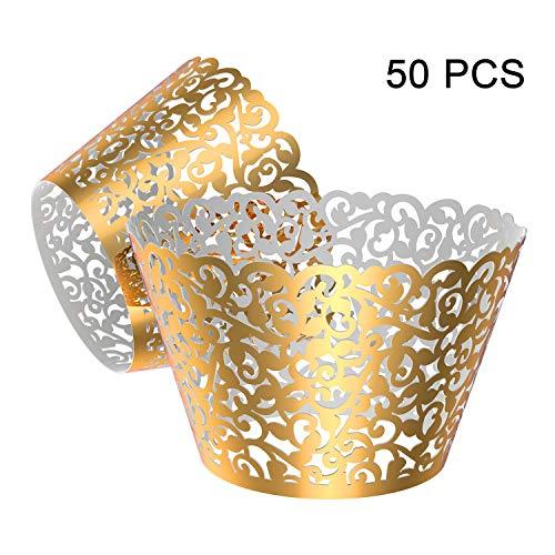 Gospire 50 Stück Perlen Spitze Filigrane Hochzeit Cupcake Wrapper Backen Kuchen Wraps Party Dekoration Laser Cut Bright Gold