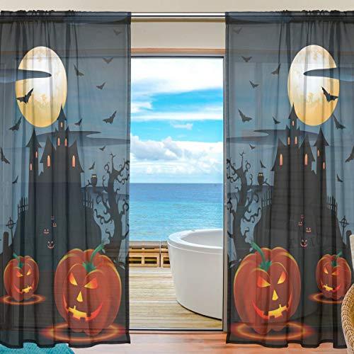 BIGJOKE Vorhang für Fenster, Halloween, Kürbis, Küche, Wohnzimmer, Schlafzimmer, Büro, Voile, 2 Stück, Multi, 55x78 inches