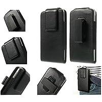 DFV mobile - Funda cinturon con clip giratorio 360º piel sintetica premium para => PRESTIGIO MULTIPHONE 5504 DUO > Negra