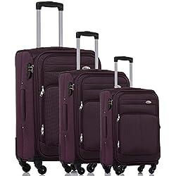 Kofferset Trolley Gepäckset Stoff Dehnungsfuge Koffer Reisekoffer (Lila)