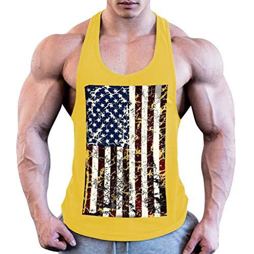 BHYDRY Herren Sommermode Flag Druck elastische ärmellose Fitness Weste Bluse Tops -