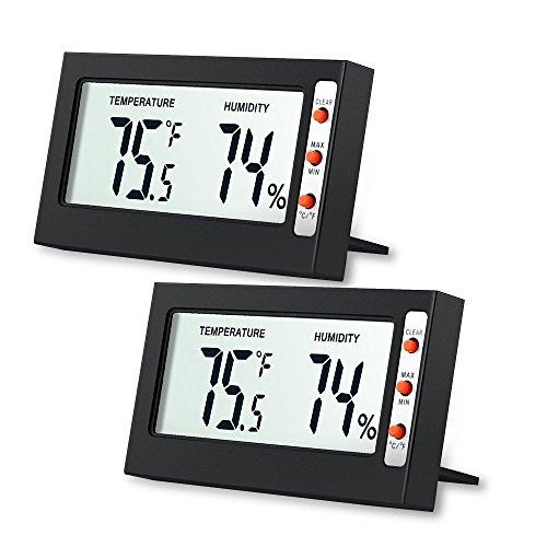 [2 Pack] AMIR Thermomètre Hygromètre, Digital Thermomètre/Hygromètre, Température Humidité Compteur, Portable Taille Mini, pour la Maison, Les voitures, le Bureau, Piles Incluses (noir)
