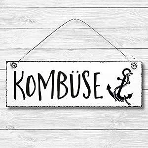 Kombüse – Küche Maritim Anker Dekoschild Türschild Wandschild aus Holz 10x30cm – Holzdeko Holzbild Deko Schild