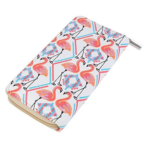 DonDon Damen Geldbeutel Muster Flamingos beige orange Flamingo-muster