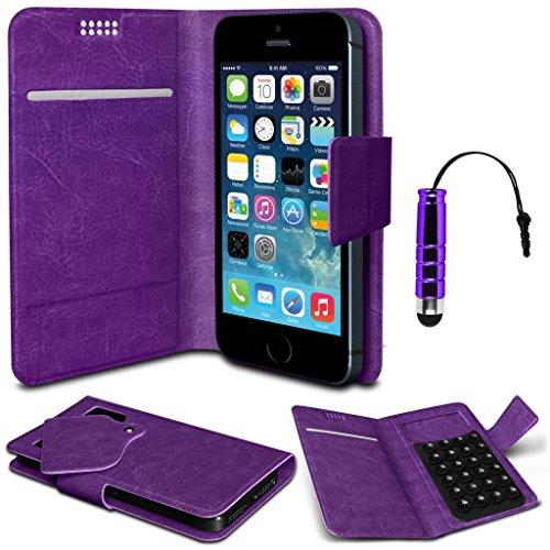 N4U Online® - HTC Desire 700 Lila PU-Leder Geldbörse Saugnapf-Fall-Abdeckung & Mini Stylus - Desire 700 Htc Handy-fall,