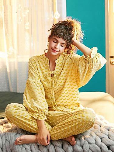 Z&J Schlafanzug Senior Home Service Anzug Winter Tragen In Gelben Samt Niedlichen Langärmeligen Pyjamas Frauen,Gelb,M