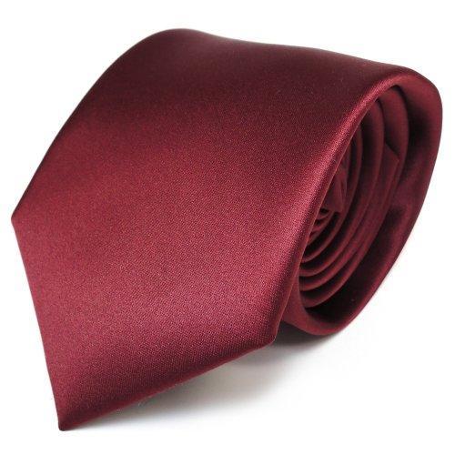 TigerTie Designer Satin Krawatte braun rot braunrot uni Polyester - Tie Schlips
