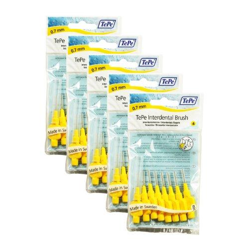 TePe Interdentalbuerste 0,7mm gelb, 5 Pakete von 8 (40 Bürsten) (Interdentalbürsten 8)