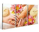 Leinwandbild 3 Tlg. Wellness Massage Fuß Pediküre Spa Leinwand Bild Bilder auf Keilrahmen Holz - fertig gerahmt 9O900, 3 tlg BxH:120x80cm (3Stk 40x 80cm)