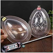 Molde para huevos de chocolate. Molde decorativo de policarbonato transparente. Peso: 95 g