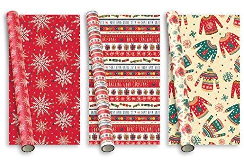 15 m (3 x 5 m) Papel de regalo de Navidad moderno - Texto marrón y renos tartán