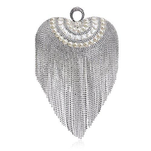 flada in herz - form tassel crystal strass abend kupplung partei handtaschen für frauen taschen #3