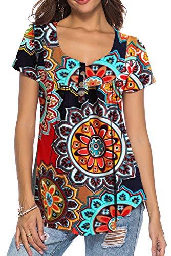 Dasbayla Tshirt Damen V Ausschnitt Sommer Blumen Plus Size Orange XXL (Orange Jeans Plus Size)