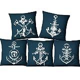 WMWZ Funda de Almohada Cuadrada con diseño de Ancla oceánica, Fundas de Almohada con Estampado Azul, Funda de cojín de algodón y Lino para sofá, Juegos Decorativos de 18 x 18 Pulgadas, Paquete de 5