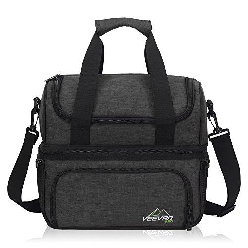 icknick Tasche für 2Kühltasche Outdoor Lebensmittel Aufbewahrung mit Geschirr & Besteck Medium Schwarz ()