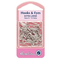Hemline Hooks and Eyes - Nickel Silver, Extra Large Size 9, 10 sets