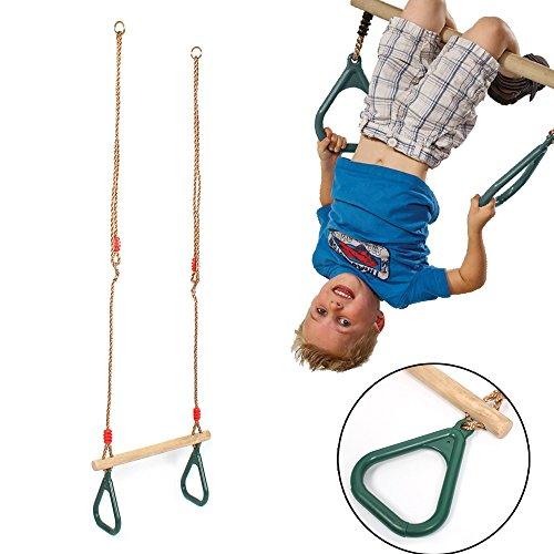 [Weihnachtsgeschenk für Kinder]Schaukel mit Turnringen, Multifunktion-Kinderholz Trapeze mit Kunststoff-Ringe, Turngerät mit Anti-Rutsch Kunststoffgriff, Höhenverstellbare Schlinge 114-205 cm Grün