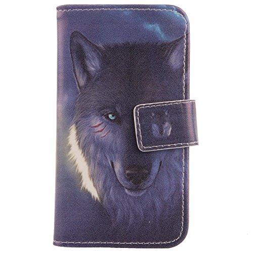 Lankashi PU Flip Leder Tasche Hülle Case Cover Schutz Handy Etui Skin Für ZTE Open C Wolf Design