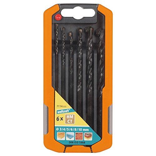 Wolfcraft 7114000 7114000-6 Brocas Universal Compuesto de diam. 3,0-4,0-5,0-6,0-8,0-10,0 mm en Caja Deslizante de plástico 2k, Set de 6 Piezas