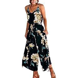 Sunenjoy Femme Combinaison sans Manches Bretelle Col V Imprimé Floral Boho Combishort Pantalon Large Jambe Jumpsuit Barboteuses Printemps Été Casual Playsuit Bodysuit Plage Cocktail Soirée