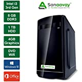 Sanaavay I3 Desktop PC - Intel Core I3 3rd Gen, 2GB Graphics GT730, 8GB Ram, Windows 10 Pro, 1TB HDD, MS Office, DVD, WiFi, IBall Cabinet