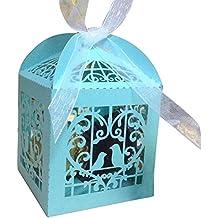 TININNA 50 piezas Cajas de boda con cinta blanca jaula, Fiesta Baby Shower Favor cajas de regalo para bombones caramelos chocolate-Azul