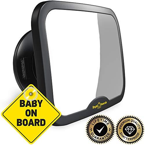 Modello migliorato | specchietto auto per bambini royal rascals | il piÙ sicuro specchietto retrovisore per seggiolino bambino | nero | infrangibile | prodotto di sicurezza premium