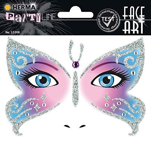 Kostüm De Dama Office - HERMA 15308 Face Art Sticker Butterfly Gesicht Aufkleber Glitzer Sticker für Fasching, Karneval, Halloween, dermatologisch getestet