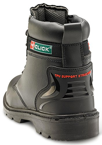 B-Click Footwear Click Workwear Homme Cuir 15,2CM Anti Statique/Slip à Œillets de Serrage de Sécurité Travail de Coffre Noir