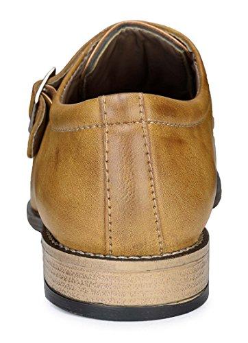 Adreno moine formel chaussures bureau hommes portent la taille faux de cuir disponibles Marron