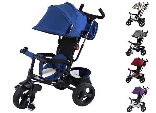 Clamaro \'Buttler GT\' 4in1 Kinderwagen Dreirad ab 1 Jahr mit lenkbarer Schubstange, flüsterleise Gummireifen und Sonnendach, durch 4-Fach Umbau für ab ca. 1-5 Jahre geeignet, Schwarz/Navy Blau