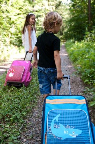 Lässig stabiler Kinder Reisekoffer/Kindertrolley mit separatem Schuh-/Wäschebeutel, Crocodile granny dunkelblau