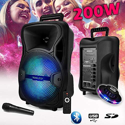 Lautsprecher Sono DJ, KoolStar SPACER08 Karaoke, autonom, mobil, mit Akku, 8 Zoll - 200 W - USB/Bluetooth/SD + Micro + Tel + UFO-Spiel