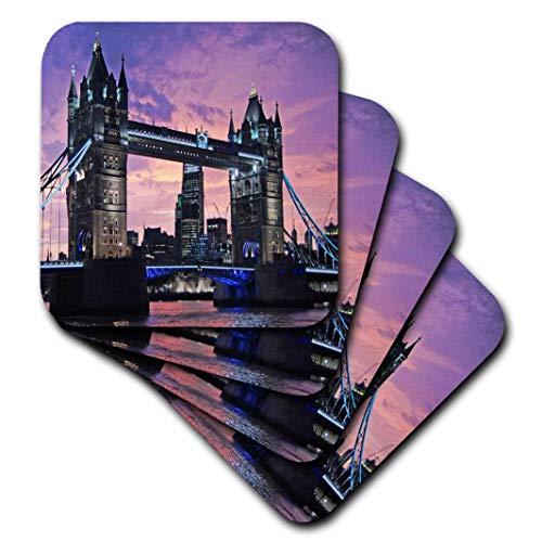3dRose CST_216441_3 London Tower Bridge Keramikfliesenuntersetzer, 4 Stück Bridge-becher