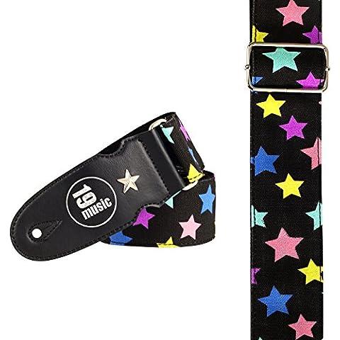 Multicolore stelle su nero Tracolla per chitarra