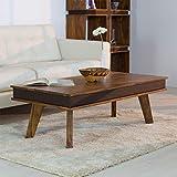 HAISER Interieur Massiver Echtholz-Couchtisch mit Lederoptik-Applikation 118 x 60 cm Palisander Sheesham Tisch