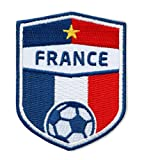 Club-of-Heroes 2 x Frankreich Fussball/Stick-Stick-Abzeichen France 70 x 55 mm/Équipe Tricolore, Fédération Française Football/Aufnäher Patch Bügelbild/französisch National Team Dress Trikot Flagge