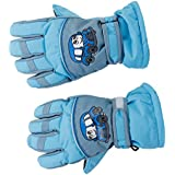 Generic Pair Anti-slip Winter Warm Breathable 6-8 Years Children Kids Ski Skating Gloves Sky Blue