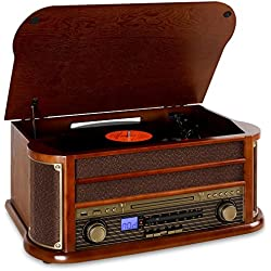 auna Belle Epoque 1908 equipo estéreo con tocadiscos y Bluetooth (USB, reproductor CD, MP3 y casete, sintonizador FM/AM)