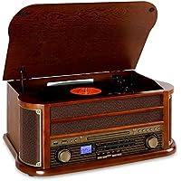 auna Belle Epoque 1908 Impianto Stereo Hi-Fi multifunzione con bluetooth dal design rétro vintage (giradischi, lettore CD, MP3) - legno